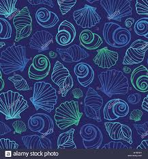 Repeats In Textile Designing Vector Blue Seashells Repeat Pattern Suitable For Gift Wrap