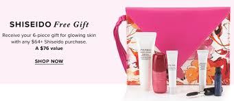 hudson s bay canada shiseido offers receive free 5 piece gift 76 value with shiseido purchase of 64 or more