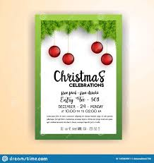Vintage Christmas Party Flyer Template Stock Vector