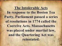 Image result for in reaction to the Coercive Acts,