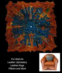 native american art on leather for walls rugs furniture celestial gathering acrylic by bernie granados
