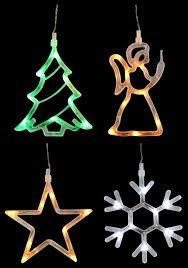 Led Silhouetten 8 Leds Fensterdeko 4 Motive Weihnachten Batteriebetrieb