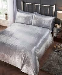 rapport crushed velvet tiffany sequin effect duvet cover bedding set silver 24 99