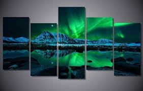 2018 blue green modern aurora borealis iceland jokulsarlon northern light canvas prints picture painting with framed ready to hung from topart123