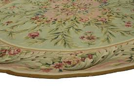 hand woven antique french aubusson round rug with rococo style for