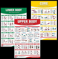 Get Fit For The Army Wall Chart Body Weight Exercises 3 Poster Set Professional Fitness Wall
