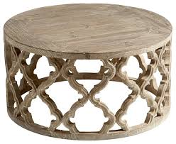 sirah weathered pine quatrefoil round coffee table