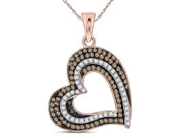 3 8 carat ctw i2 i3 enhanced champagne diamond heart pendant necklace