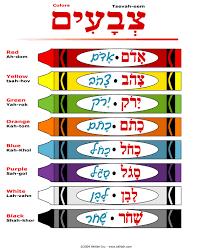 Crayon Colors In Hebrew Handout Learn Hebrew Hebrew Words