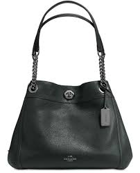 NEW COACH TURNLOCK EDIE SHOULDER BAG IN POLISHED PEBBLE LEATHER 36855 IVY  GREEN