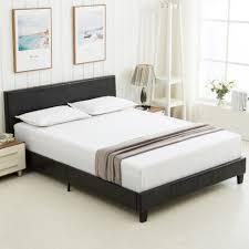 Bed Frames : Queen Size Platform Frame Slats Upholstered Headboard ...