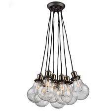 artcraft 8 light matte black and vintage brass chandelier