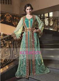 Green And Gold Color Kaftan Crepe Kaftan