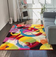 cool multi colored rugs com bubble bright circles yellow blue red abstract