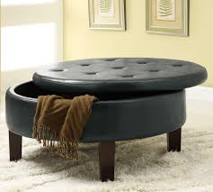 storage round leather ottoman coffee table