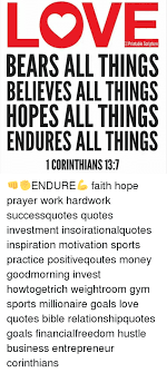 OPrintable Scripture BEARS ALL THINGS BELIEVES ALL THINGS HOPES ALL Interesting Bible Quotes About Hustle