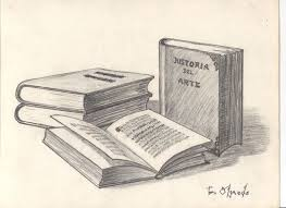 stack of books pencil drawing still life