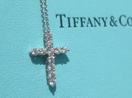 tiffany co diamond cross necklace pendant platinum saveenlarge