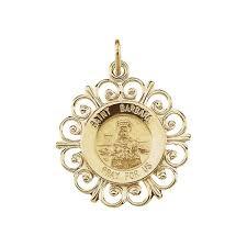 14k yellow gold round st barbara pendant medal 18 5 1 5 grams