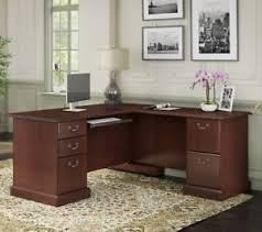 corner desk home office furniture shaped room. Image Is Loading Cherry-Brown-Corner-Desk-Executive-Desks-L-Shaped- Corner Desk Home Office Furniture Shaped Room 0