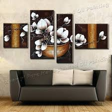 4 piece wall canvas handmade art modern painting abstract orchid flower oil living 4 panel wall canvas art