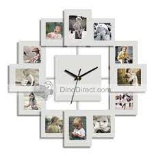 collage hanging photo frame wall clock