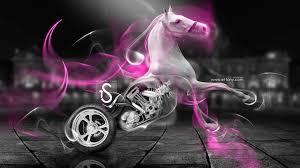 fantasy white horse moto smoke