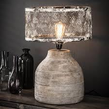 Tafellamp Massief Houten Hoge Ronde Voet Kopen Tafellampen