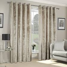 vogue champagne crushed velvet luxury eyelet curtains pair