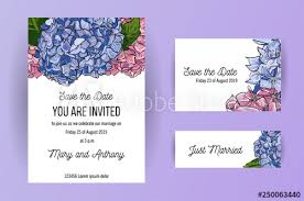 Set Of Wedding Invitation Card With Blue And Pink Flowers