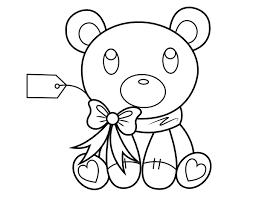 Gift Tag Coloring Page Printable Teddy Bear With Gift Tag Coloring Page