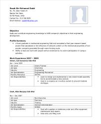 Mechanical Engineer Resume Format Doc Sc Certificate Format Doc