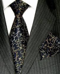 LORENZO CANA Luxury Italian <b>Pure Silk Tie</b> Hanky Set Black Gold ...