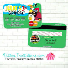 Credit Card Party Invitations Bird Themed Birthday Invitations Angry Birds Space Party Credit Card