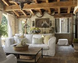 Farmhouse Living Room Decorating With White Sofa And Vintage Standing  Chandelier