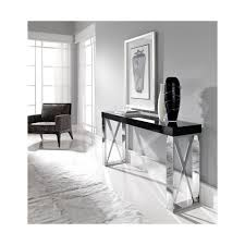 high console table. High Gloss Console Table With Stainless Steel Legs And Wooden Top