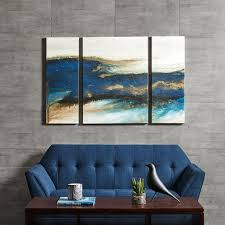 >blue gold brush stroke abstract canvas wall art add