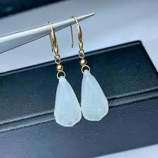 2019 <b>SHILOVEM 18k Yellow Gold</b> Real Natural White Jasper Drop ...