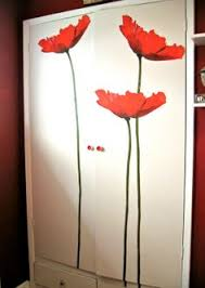 giant flower wall decals transforamation project using wall decoration stickers and door knobs on poppy wall art stickers with vibrant wall decals to spice up a boring room and matching accent