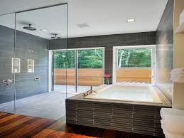 fascinating luxury bathroom. Astonishing Luxury Bathroom Ideas With Black Porcelain Washbowl On Fascinating Luxurious Wide Glass Sliding Door And Cream Rectangle Bathtub Near Window B