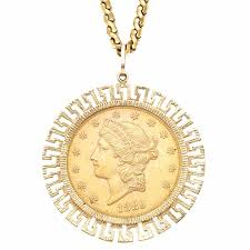 Gold Coin Pendant Designs Us Twenty Dollar Gold Coin Pendant With Chain 18kt 14 Kt