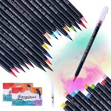 <b>20 Colors</b> Watercolor Brush Pen Premium <b>Painting Soft</b> Brush ...