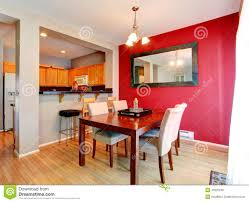 Red Wall Kitchen Dining Room With Contrast Red Wall Stock Photo Image 43525245