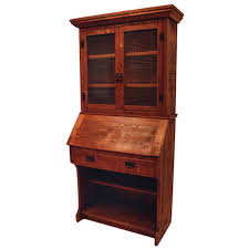 rustic drop front desk with hutch amish oak cabin furniture made in usa