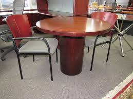on round mahogany conference table used office furniture plano dallas richardson allen mckinney frisco texas