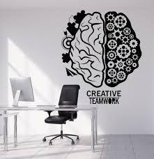 creative office decor. Modren Office Vinyl Wall Decal Brain Teamwork Gear Creative Office Decor Stickers 1317ig Intended O