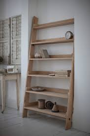 inexpensive leaning ladder shelf with natural wood portable ladder and spacious shelves for books furniture
