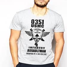 Usmc Mos Chart 2017 Wholesale Discount Us Marines Infantry Assaultman T Shirt Mos 0351 Usmc Men Cotton Tee Sz S 2xl 2017 Fashion Short Sleeve Black T Shirt Printing On T