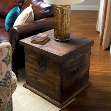 end tables designs trunk end table square brown rustic design white carpet wooden floor brown sleek leather sofa countoured arm square pillows round table