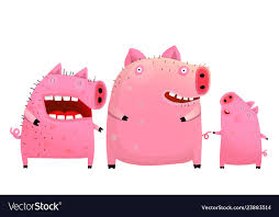 <b>Fun pig</b> family <b>father</b> mother and son Royalty Free Vector